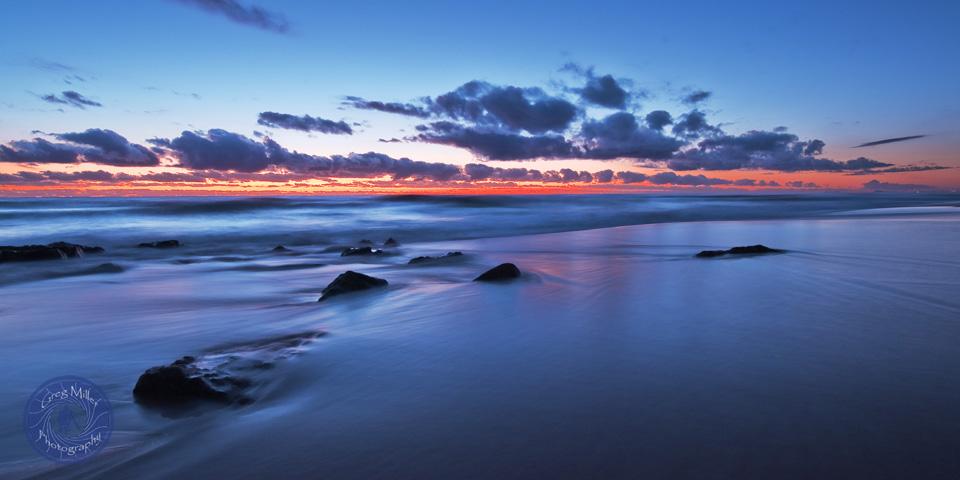 Point Arkwright, sunrise and high tide, Sunshine Coast