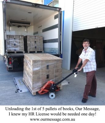 Unloading the shipment of books